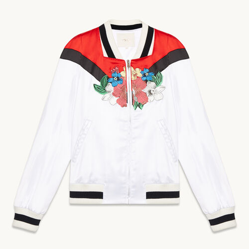 Embroidered satin varsity jacket - Coats & Jackets - MAJE