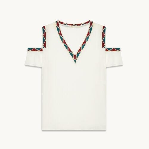 Crêpe off-the-shoulder top - Tops & Shirts - MAJE
