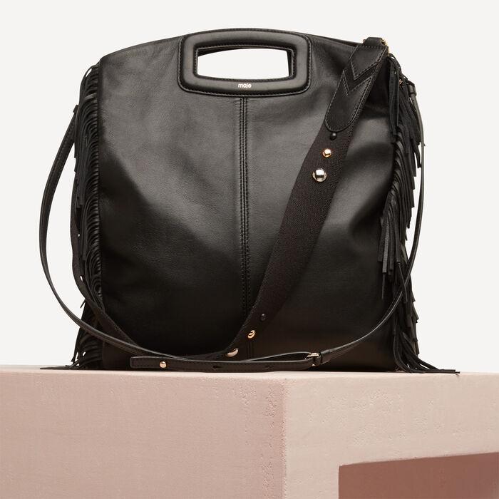 Leather bag with fringing -  - MAJE