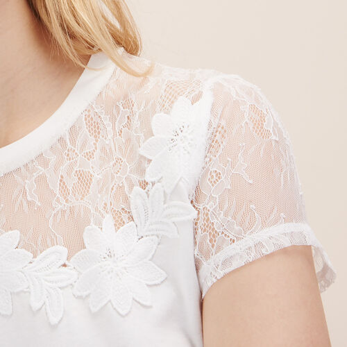 T-shirt with lace and embroidery - Tops & Shirts - MAJE
