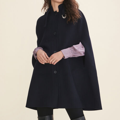 Double-sided wool cape - Coats & Jackets - MAJE