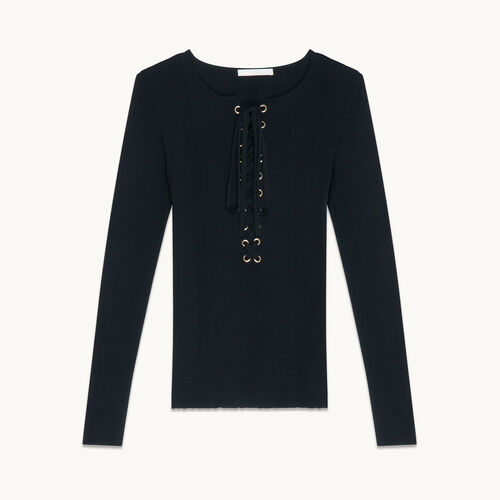 Locknit jumper with lacing - Sweaters - MAJE