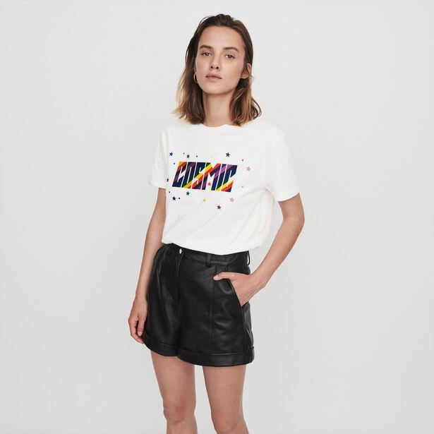 마쥬 스트레이트 컷 반바지 MAJE 119ILORD Cuffed shorts with topstitching,Black