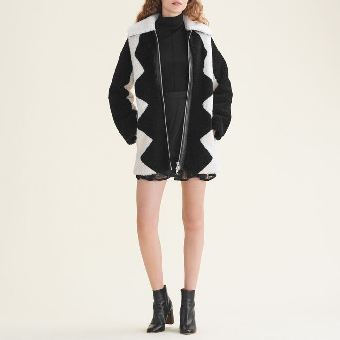 Two-tone sheepskin coat -  - MAJE