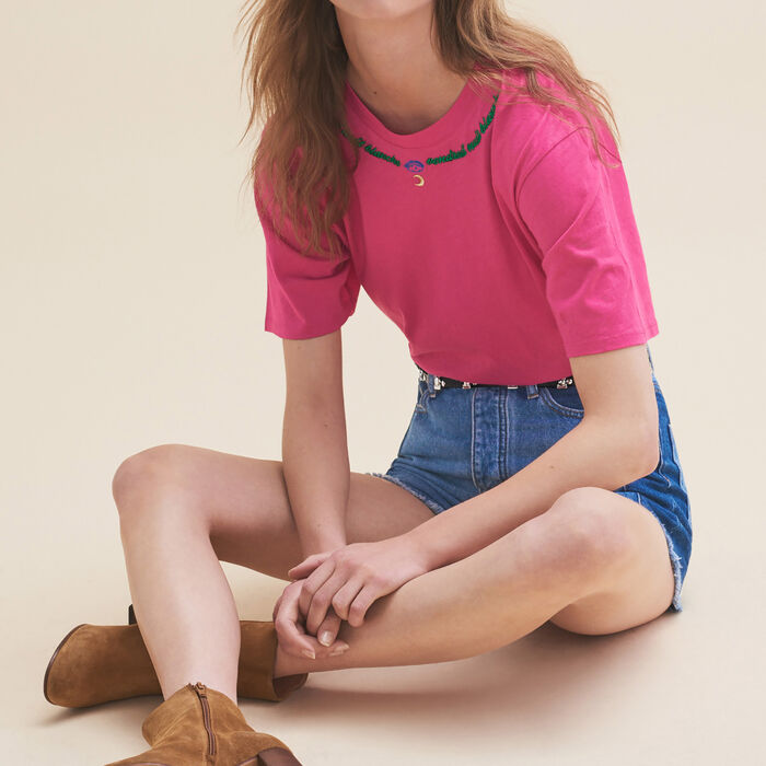 Embroidered T-shirt Friday - Tops & T-Shirts - MAJE