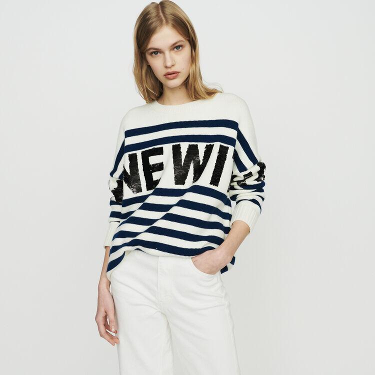 마쥬 MYSTICA 울 혼방 스트라이프 스웨터 MAJE MYSTICA Sailor striped sweater in wool blend,Ecru