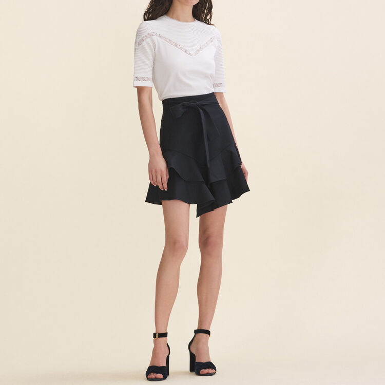 T-shirt with lace trims - Tops & T-Shirts - MAJE