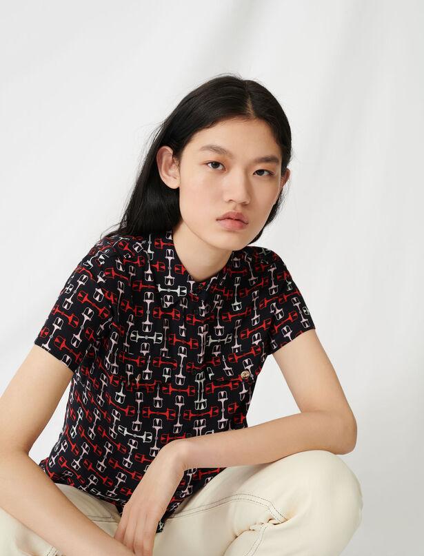 마쥬 셔츠 MAJE 220CLOSE Printed short-sleeved shirt,Black/Red