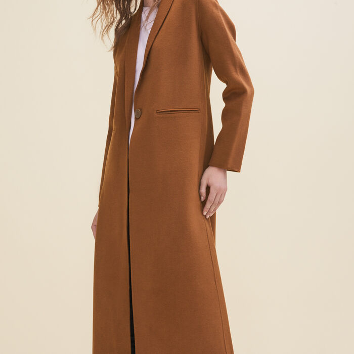 Long double-sided wool coat -  - MAJE