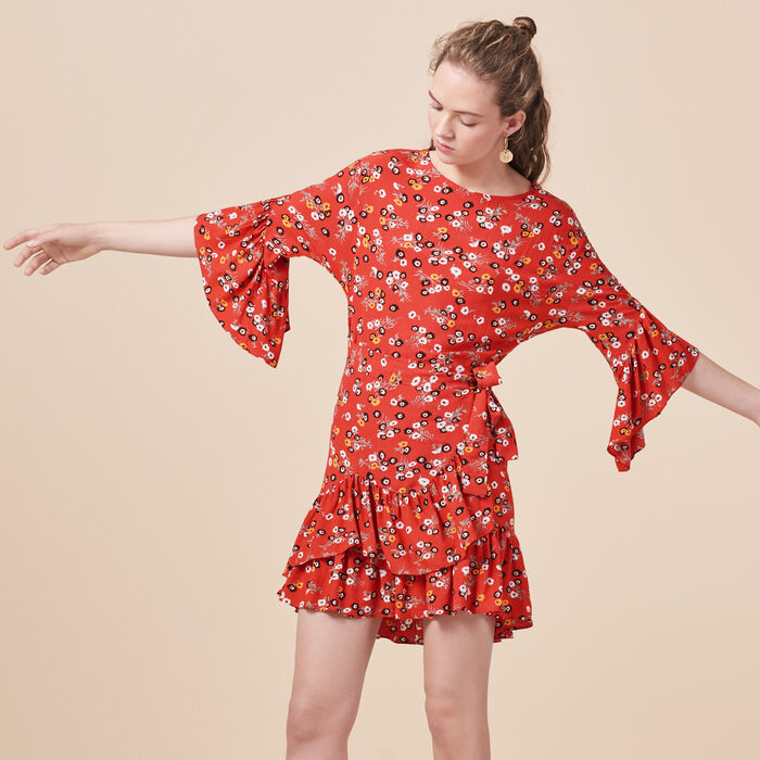 Printed dress with frills -  - MAJE