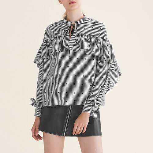 Striped blouse with frills - Tops & T-Shirts - MAJE