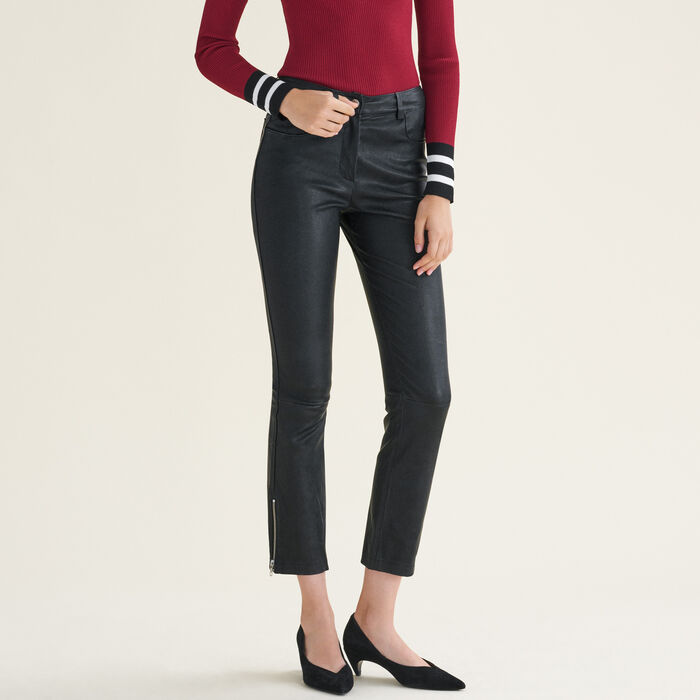Leather trousers with zip details - Pants & Jeans - MAJE