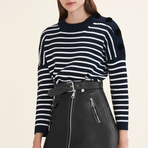 Breton jumper with velvet buttons - Sweaters - MAJE