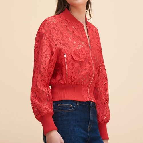 Short lace bomber jacket - Coats & Jackets - MAJE