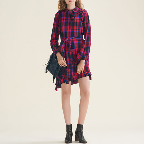 Checked dress with frills - Dresses - MAJE