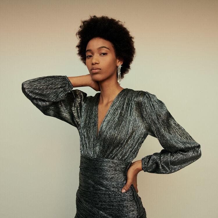 마쥬 MAJE 119RUNNY Lurex draped dress,Silver