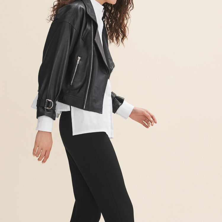 Fitted leather jacket - Coats & Jackets - MAJE