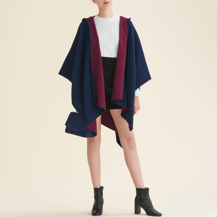 Reversible hooded poncho -  - MAJE