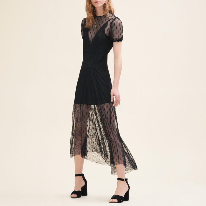 Long dress with embroidery and lace -  - MAJE