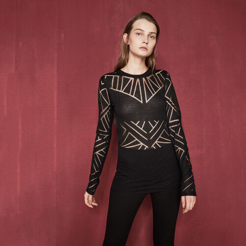 Dévoré jumper with geometric motifs - Sweaters - MAJE