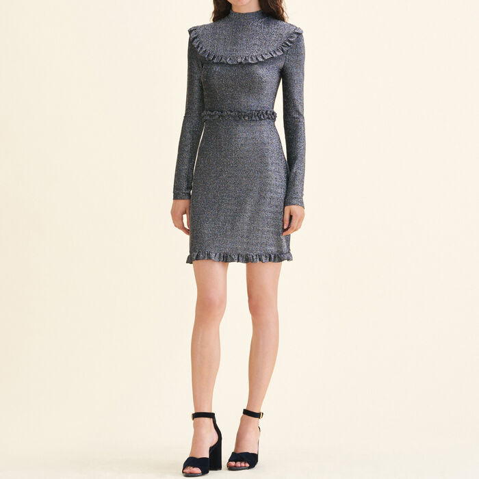 Short knit dress with frills -  - MAJE