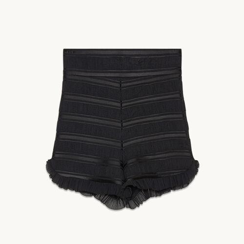 Flounced high-waisted shorts - Skirts & Shorts - MAJE