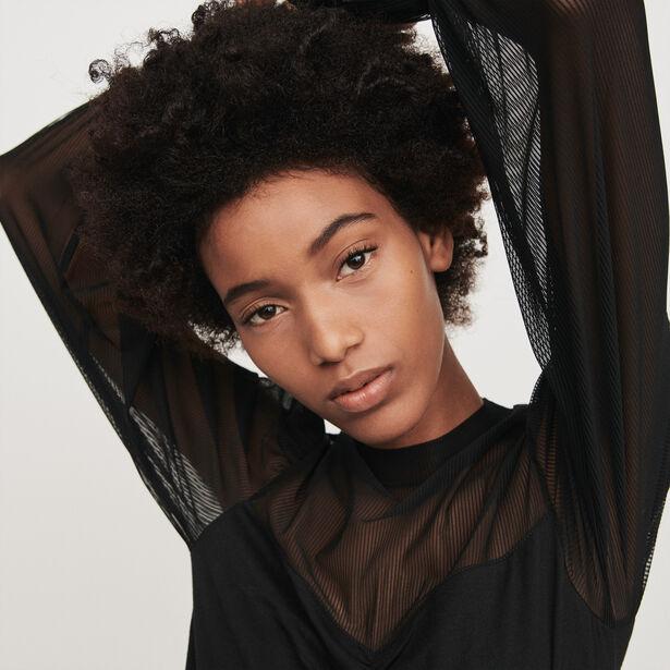 마쥬 티셔츠 MAJE 119TILDA Long sleeve t-shirt with mesh,Black