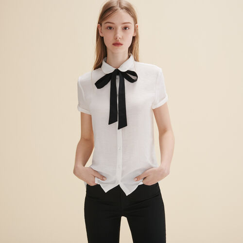 Blouse with pussy bow. - Tops & Shirts - MAJE