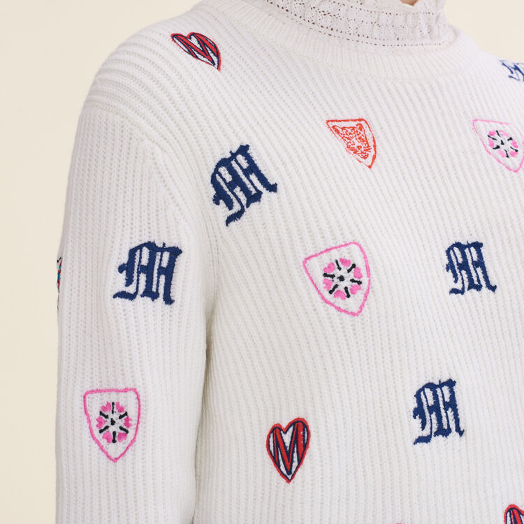 Embroidered knit jumper - Sweaters - MAJE