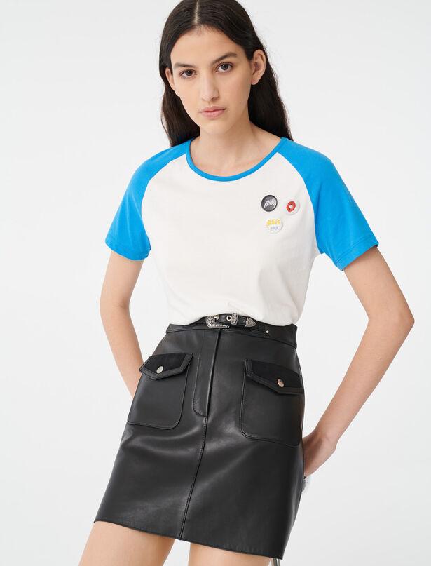 마쥬 티셔츠 MAJE 220TALON T-shirt with contrasting sleeves,White