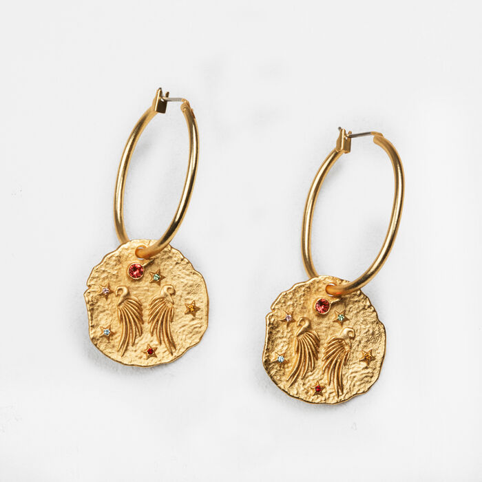 Earrings with hammered medallion - Shoes & Accessories - MAJE
