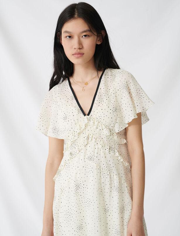 마쥬 별 프린트 브이넥 러플 원피스 MAJE 220RACKY Long ruffled dress with V neckline,Ecru / Black