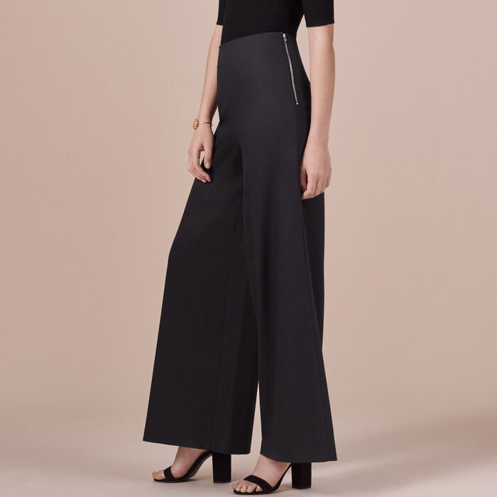 Wide-leg canvas trousers -  - MAJE