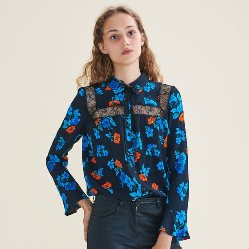 Printed blouse with lace - Tops & T-Shirts - MAJE