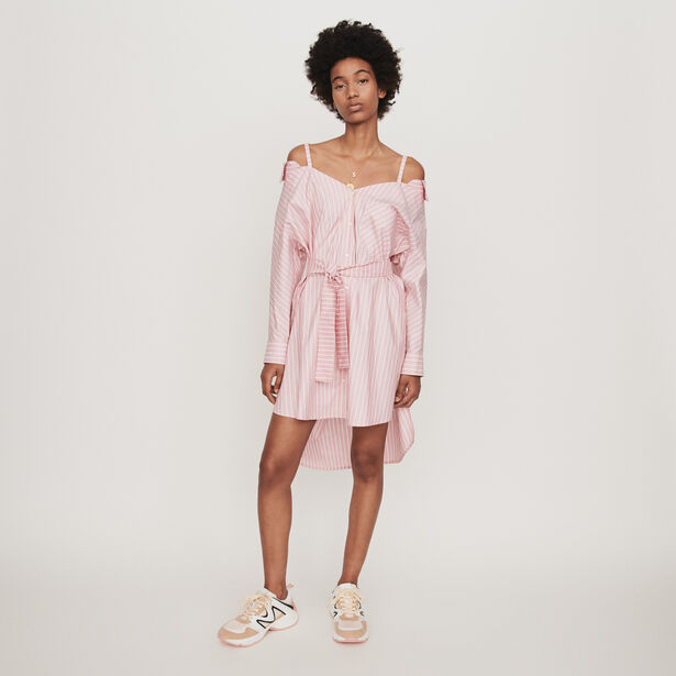 마쥬 오버사이즈 스트라이프 셔츠 원피스 MAJE 119RIAMI Oversized striped shirt dress,Pink