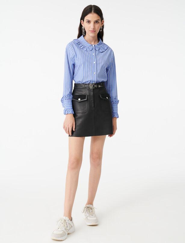 마쥬 스트라이프 셔츠 MAJE 220CALIA Striped shirt with a frilled collar,Light Blue