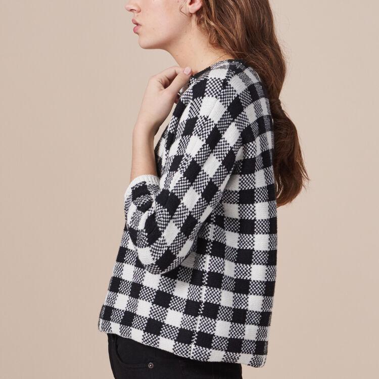 Short gingham jacquard jumper - Sweaters - MAJE