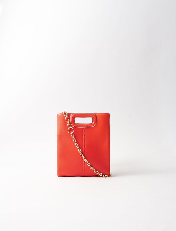 마쥬 M백 미니 MAJE 220MMINISKCHAINHANDLERESINE Leather mini M bag with chain,Red