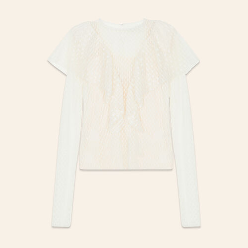 Frilled dotted Swiss top - Tops & T-Shirts - MAJE