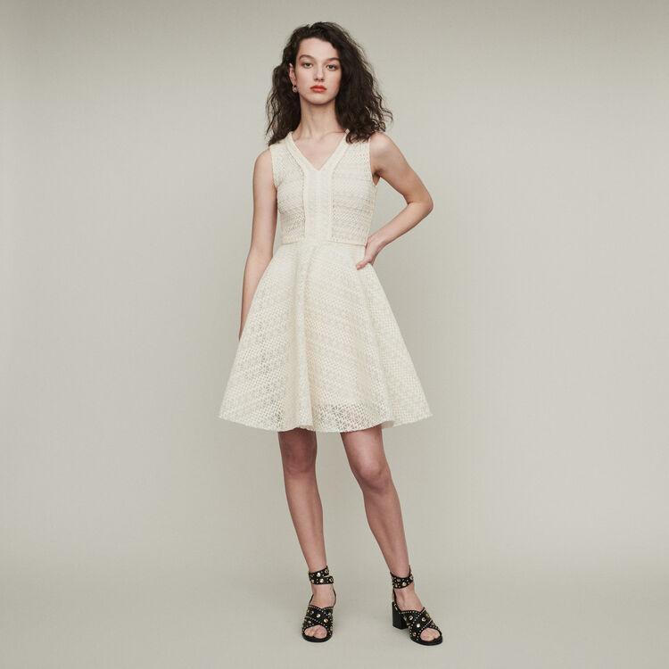 마쥬 REINETTE 민소매 원피스 에크루 MAJE REINETTE Sleeveless dress in basket knit,Ecru
