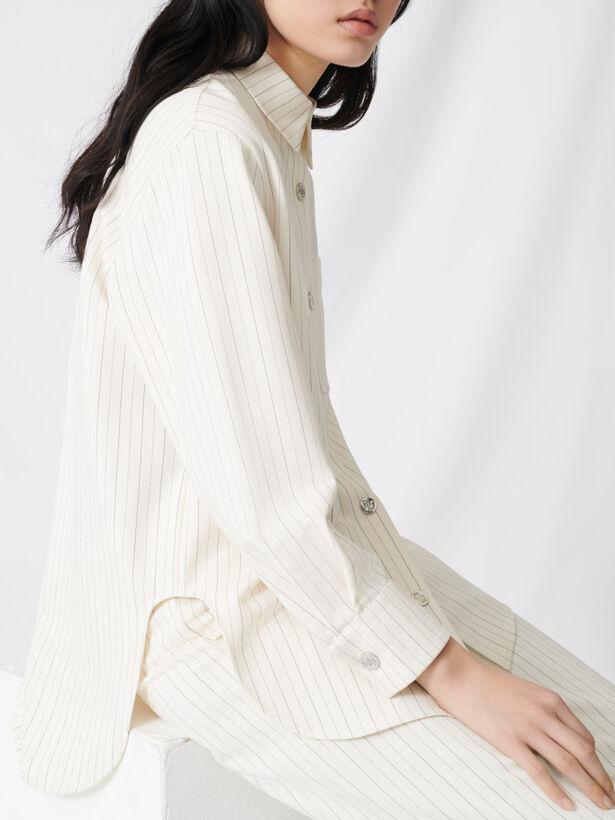 마쥬 오버사이즈 스트라이프 셔츠 MAJE 220CIMPO Oversized striped shirt,Ecru