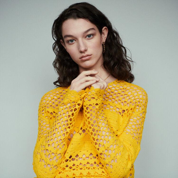 마쥬 MELISSE 오버사이즈 크로셰 스웨터 MAJE MELISSE Oversized crochet sweater,Yellow