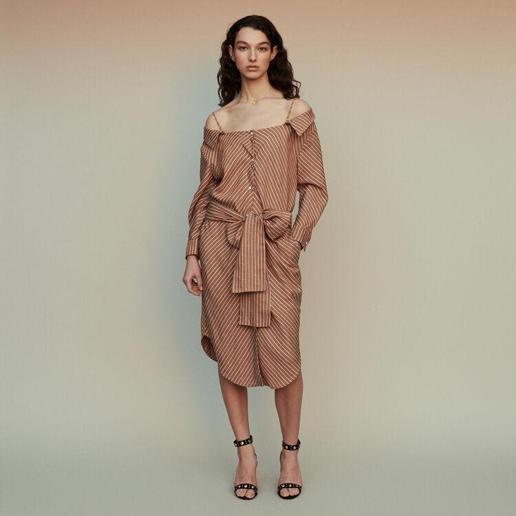 마쥬 RULYLLA 베어 숄더 셔츠 원피스 스트라이프 테라코타 MAJE RULYLLA Striped shirt dress with bare shoulders,Terracota