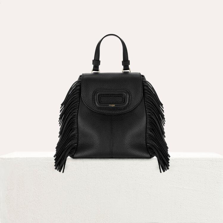 마쥬 MBACKMINI 미니 M 백팩 블랙 210 MAJE MBACKMINI Mini M backpack in leather with chain,Black 210