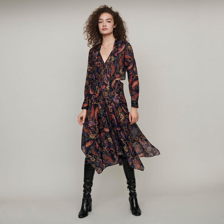 마쥬 MAJE 119RISTA Printed-cotton scarf dress,Navy
