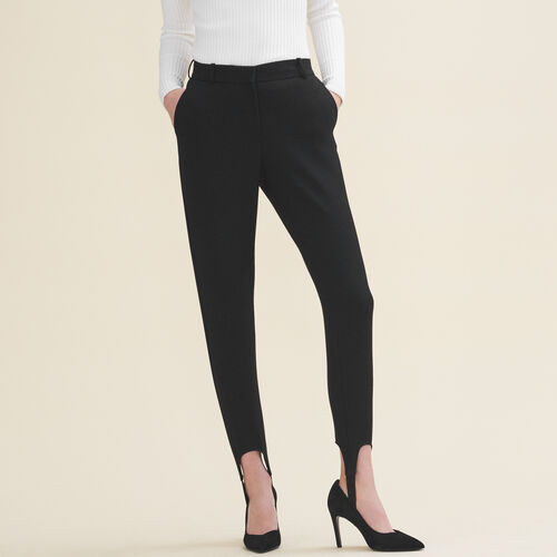 Straight-cut crepe stirrup trousers - Pants & Jeans - MAJE