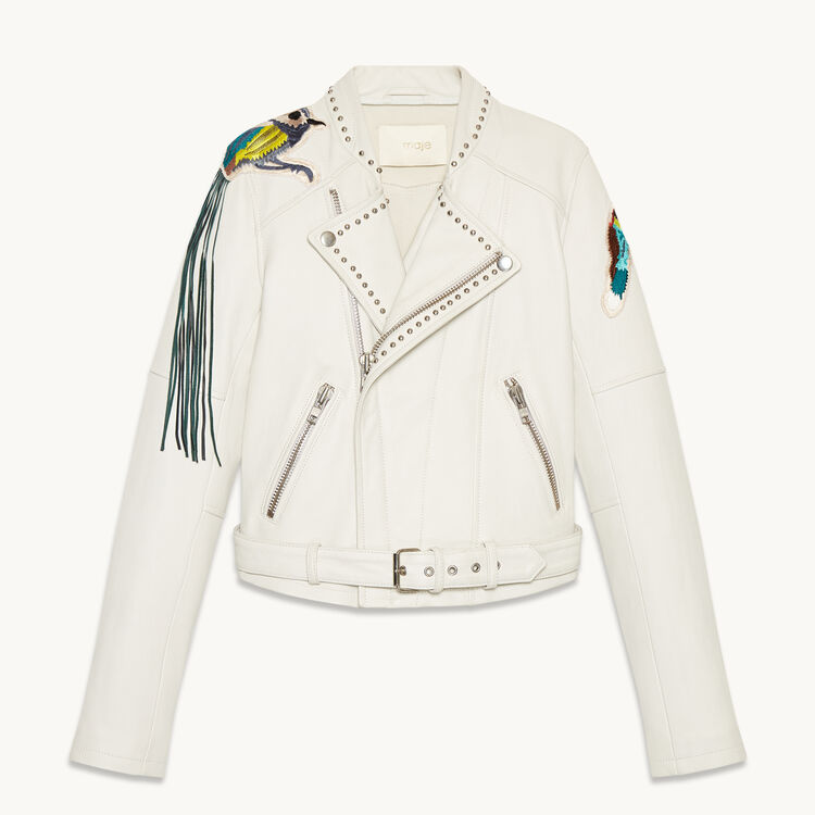 Leather jacket with badges and studs - Coats & Jackets - MAJE