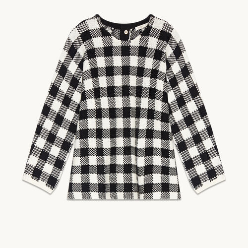 Short gingham jacquard jumper - Sweaters - MAJE