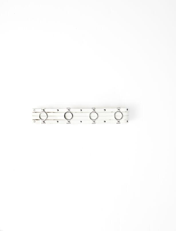 마쥬 벨트 MAJE 220AZUR Leather belt with metallic details,Off White