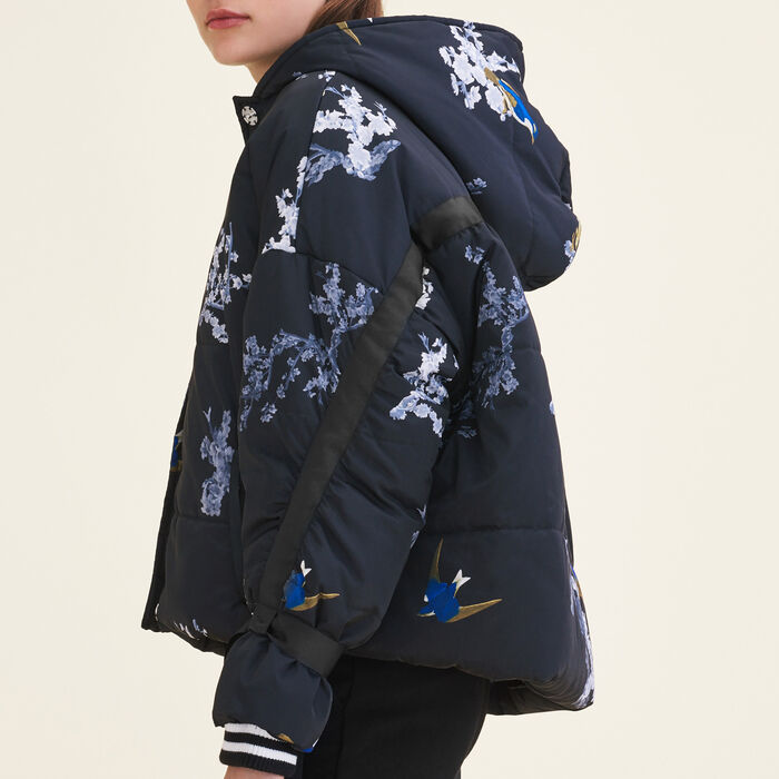 Cropped printed down jacket -  - MAJE